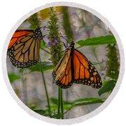 Three Monarch Butterfly Round Beach Towel