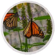 Three Monarch Butterfly Round Beach Towel