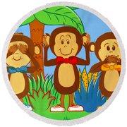 Three Monkeys No Evil Round Beach Towel