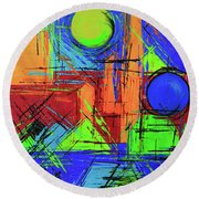 Round Beach Towel featuring the painting Three Moons by Jeanette French