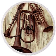 Three Old Horns Round Beach Towel by Garry Gay
