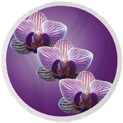 Three Orchids Round Beach Towel
