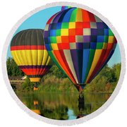 Three Over The River Round Beach Towel