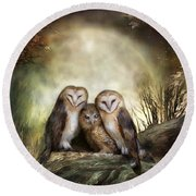 Three Owl Moon Round Beach Towel