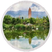 Three Pagodas Round Beach Towel by Wade Aiken