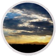 Three Peak Sunset Swirl Skyscape Round Beach Towel