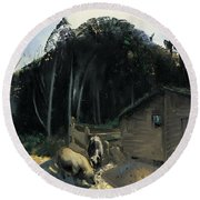 Three Pigs And A Mountain Round Beach Towel by George Wesley Bellows
