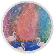 Round Beach Towel featuring the painting Three Pink Flamingos by Jackie Mueller-Jones