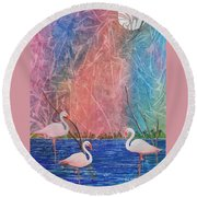 Three Pink Flamingos Round Beach Towel