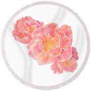 Round Beach Towel featuring the painting Three Pink Roses by Elizabeth Lock