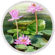 Three Pink Water Lilies With Pads Round Beach Towel
