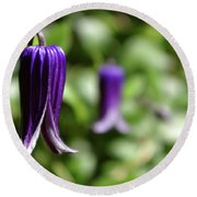 Three Purple Flowers- Leech Botanical Garden Round Beach Towel