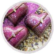 Three Purple Hearts Round Beach Towel