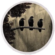 Three Ravens Branch Out Round Beach Towel