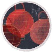 Three Red Lanterns- Art By Linda Woods Round Beach Towel