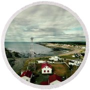 Three Red Roofs Round Beach Towel by Aimelle