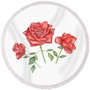 Round Beach Towel featuring the mixed media Three Red Roses by Elizabeth Lock