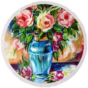 Three Roses In A Glass Vase Round Beach Towel
