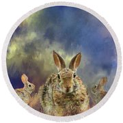 Round Beach Towel featuring the photograph Three Scared Lagomorphs by Janette Boyd