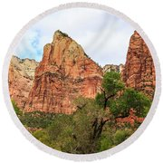 Three Sisters At Zion Round Beach Towel