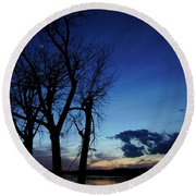 Round Beach Towel featuring the photograph Three Sisters by Cricket Hackmann