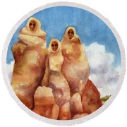 Three Sisters Of Ghost Ranch Round Beach Towel