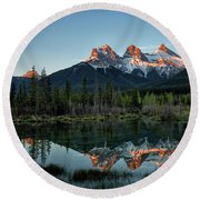 Three Sisters Sunrise Round Beach Towel
