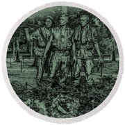 Round Beach Towel featuring the photograph Three Soldiers Memorial by David Morefield
