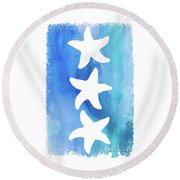 Three Starfish  Round Beach Towel