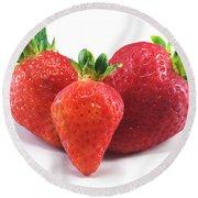 Three Strawberries Round Beach Towel