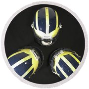 Three Striped Wolverine Helmets Round Beach Towel