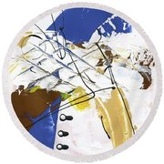 Round Beach Towel featuring the painting Three Color Palette Blue 3 by Michal Mitak Mahgerefteh