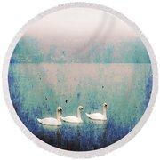 Three Swans Round Beach Towel by Joana Kruse