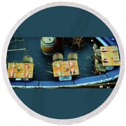 Round Beach Towel featuring the photograph Three Tables On Board by Jerry Sodorff