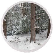Three Trees In The Snow Round Beach Towel