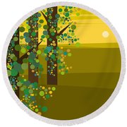Three Trees In The Spring Round Beach Towel