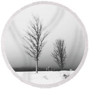 Three Trees In Winter Round Beach Towel