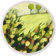 Three Trees On A Hill Round Beach Towel