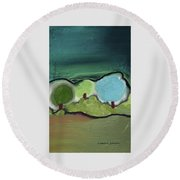 Three Trees - Triple Landscape Round Beach Towel by Lenore Senior
