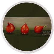 Three Tulip Bulbs Round Beach Towel
