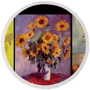 Three Vases Van Gogh - Cezanne Round Beach Towel by David Bridburg