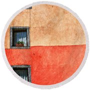 Three Vertical Windows Round Beach Towel by Silvia Ganora