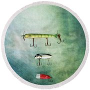 Three Vintage Fishing Lures Round Beach Towel