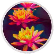 Round Beach Towel featuring the photograph Three Waterlilies by Chris Lord