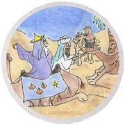 Round Beach Towel featuring the drawing Three Wisemen by Vonda Lawson-Rosa