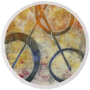 Three Worlds I Round Beach Towel