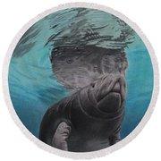 Round Beach Towel featuring the painting Three Worlds II by Jennifer Watson
