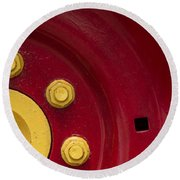 Three Yellow Nuts On A Red Wheel Round Beach Towel