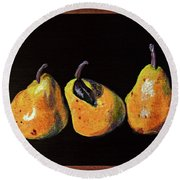 Three Yellow Pears Round Beach Towel