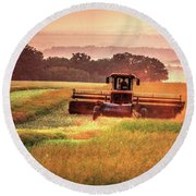 Swathing On The Hill Round Beach Towel